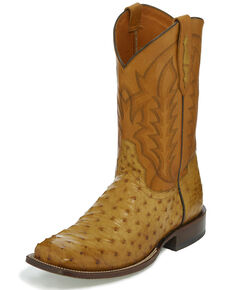 Tony Lama Men's Andrius Exotic Ostrich Western Boots - Wide Square Toe, Tan, hi-res