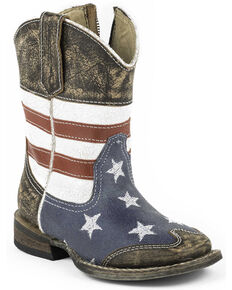 Roper Toddler Boys' American Flag Inside Zip Cowboy Boots - Square Toe, Dark Brown, hi-res