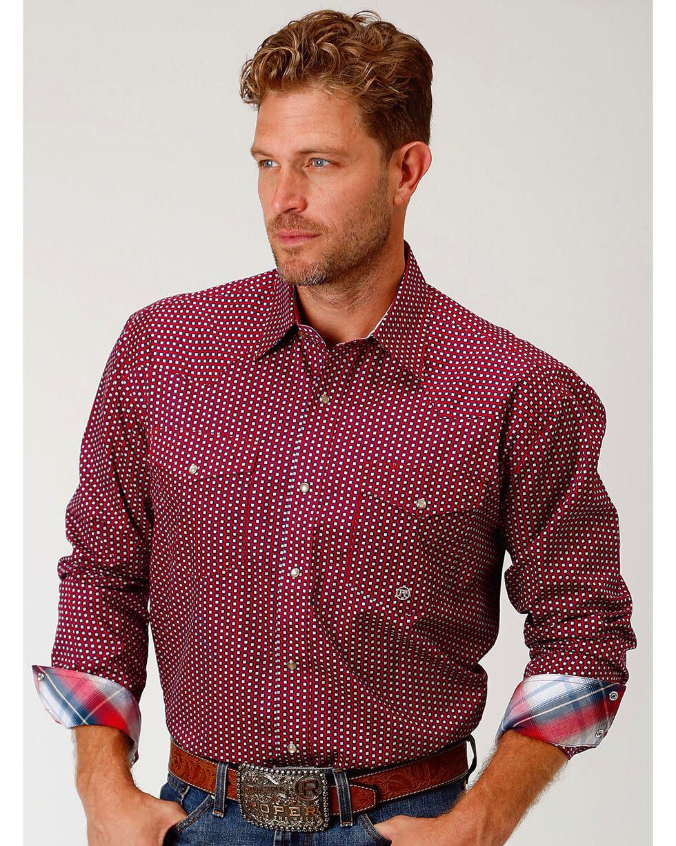 Roper Men's Red Geo Print Long Sleeve Western Snap Shirt, Red, hi-res