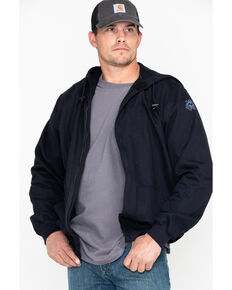 National Safety Apparel Men's Navy Heavyweight FR Zip Front Sweatshirt - Tall, Navy, hi-res