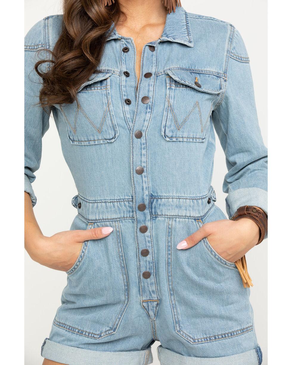 Wrangler Women's Modern Light Denim Playsuit Long Sleeve Romper, Light Blue, hi-res