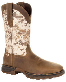 Durango Men's Camo Maverick XP Waterproof Western Work Boots - Steel Toe, Brown, hi-res
