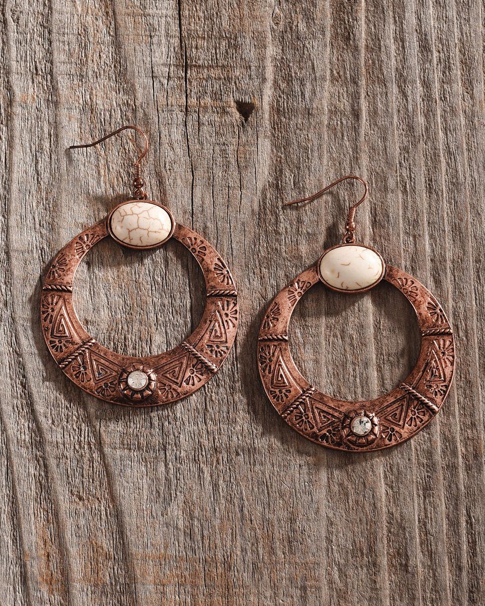 Shyanne Women's Copper Engraved Hoop Earrings, Rust Copper, hi-res