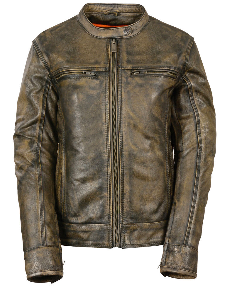 Milwaukee Leather Women's Brown Distressed Vented Scooter Leather Jacket, Black/tan, hi-res