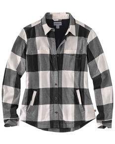 Carhartt Women's Rugged Flex Hamilton Fleece-Lined Flannel Work Shirt, Natural, hi-res
