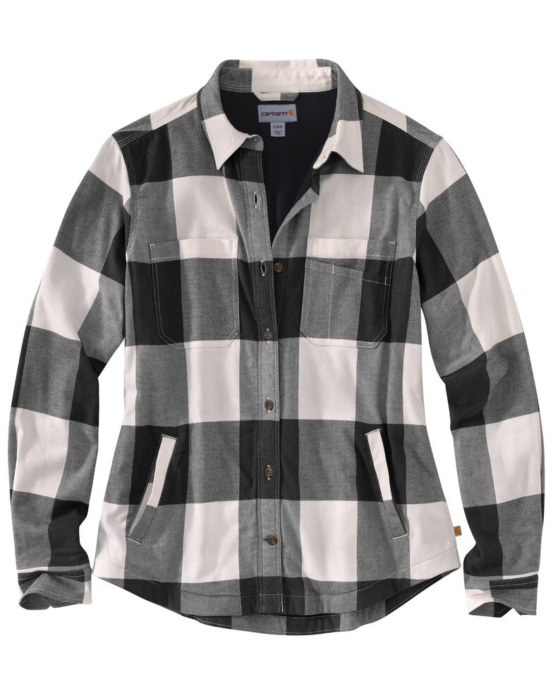 Carhartt Women's Rugged Flex Hamilton Fleece-Lined Flannel Work Shirt, Natural, hi-res