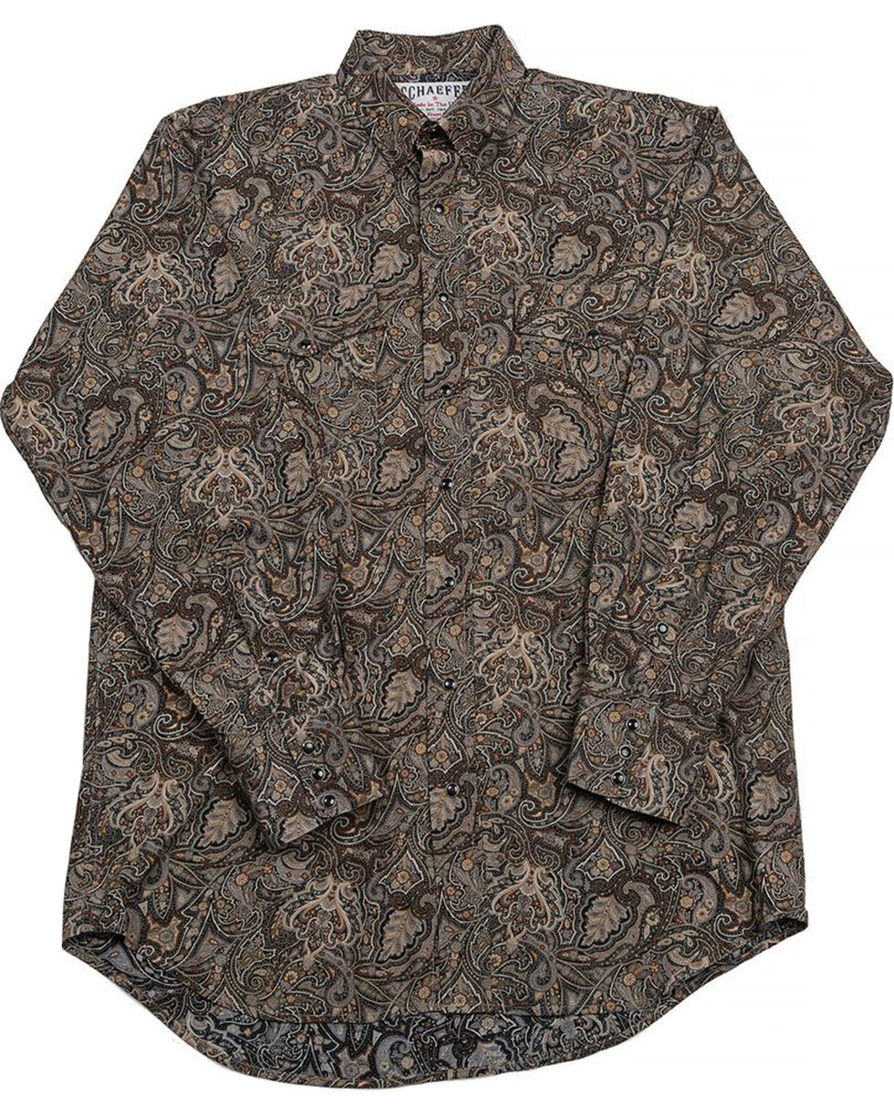 Schaefer Outfitter Men's Black Frontier Paisley Western Snap Shirt - Big & Tall, Black, hi-res
