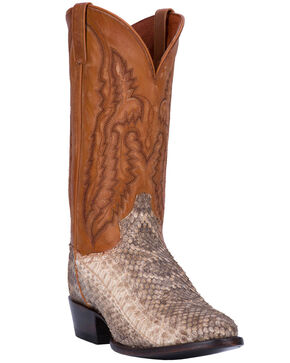 Dan Post Men's White Venom Rattlesnake Skin Boots - Medium Toe , White, hi-res