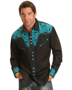 Scully Men's Turquoise Gunfighter Embroidered Long Sleeve Western Shirt , Turquoise, hi-res