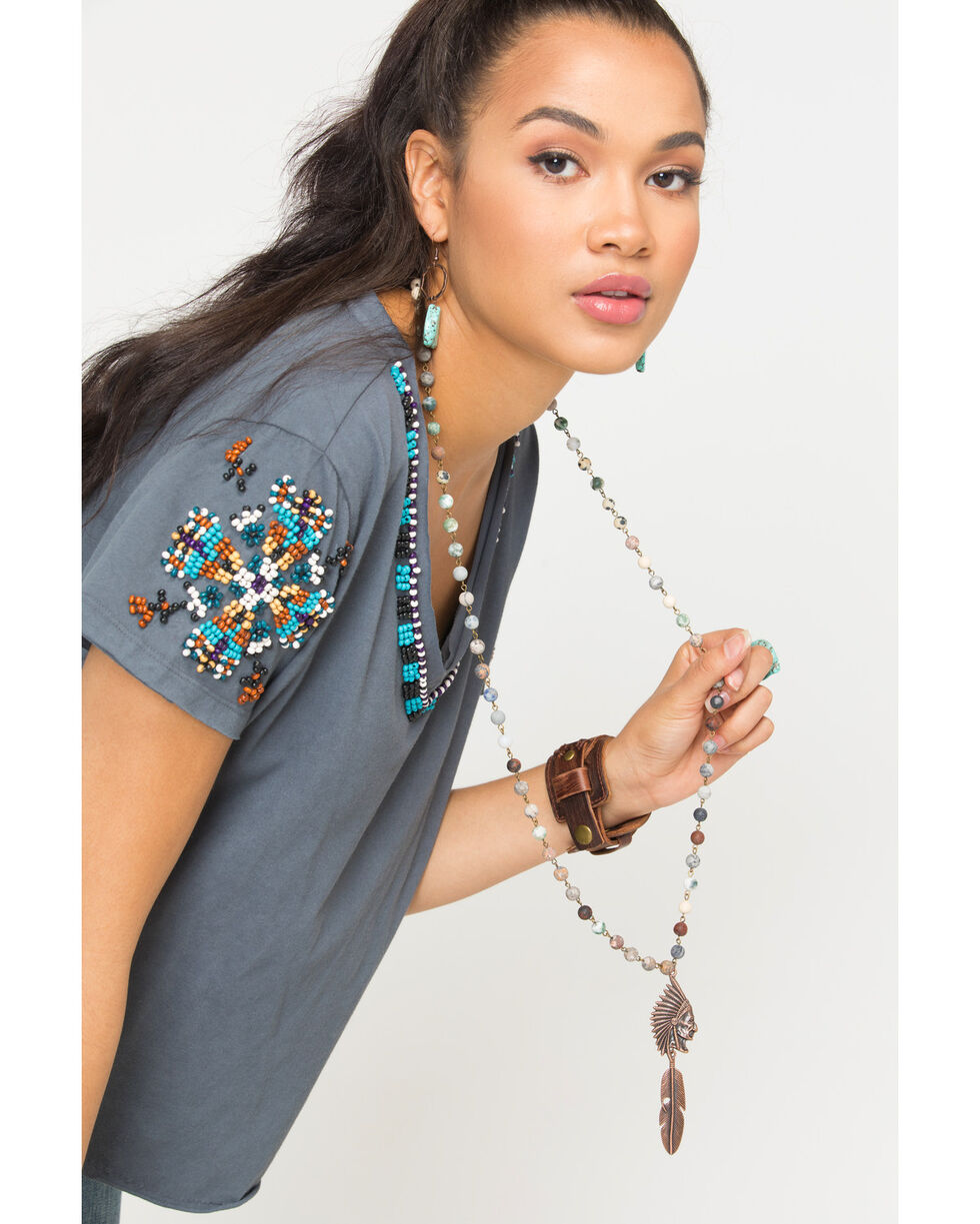 Jewelry Junkie Copper Indian Head and Feather Necklace, Multi, hi-res