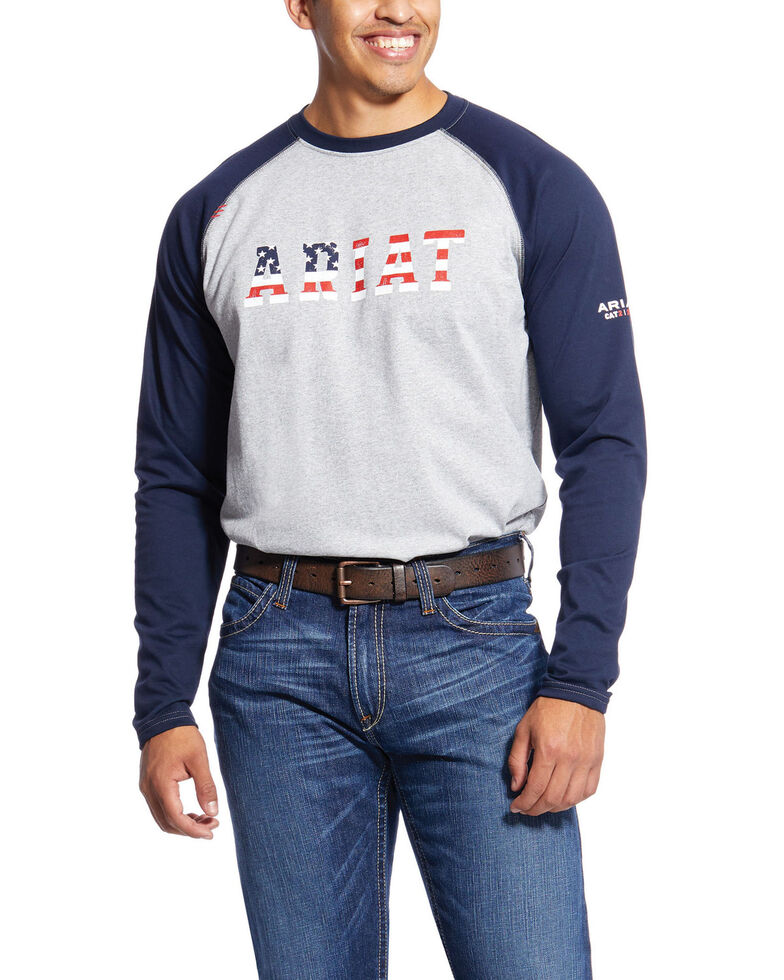 Ariat Men's Navy FR Baseball Logo Crew Work Tee - Big , Navy, hi-res