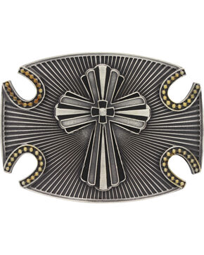 Montana Silversmiths Two-Tone Radiating Fluted Cross Attitude Belt Buckle, Multi, hi-res