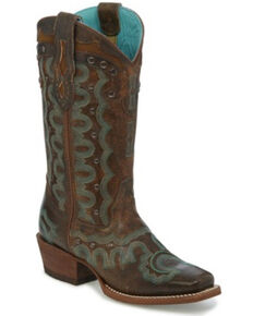 Justin Women's Faxon Western Boots - Square Toe, Brown, hi-res