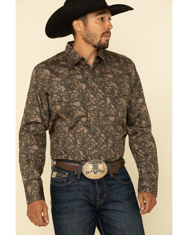 Wrangler Retro Men's Tan Paisley Print Long Sleeve Western Shirt , Tan, hi-res