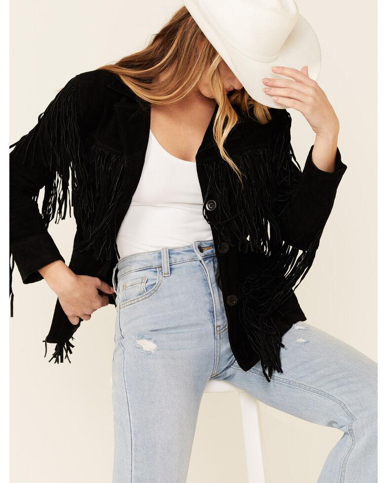 Liberty Wear Women's Black Suede Fringe Snap-Front Jacket , Black, hi-res