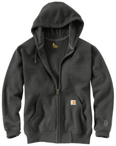 Carhartt Men's Rain Defender Paxton Zip Front Work Hooded Sweatshirt - Big & Tall, Bark, hi-res