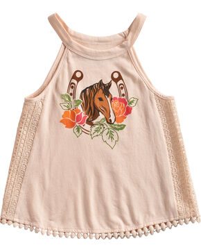 Shyanne Toddler Girls' Horse Printed Crochet Lace Trim Tank Top, Pink, hi-res