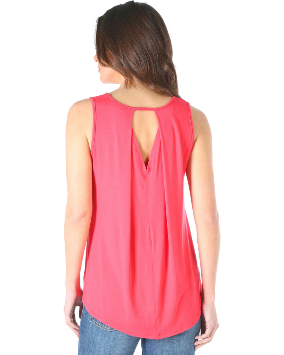 Wrangler Women's Open Back Tank Top, Coral, hi-res