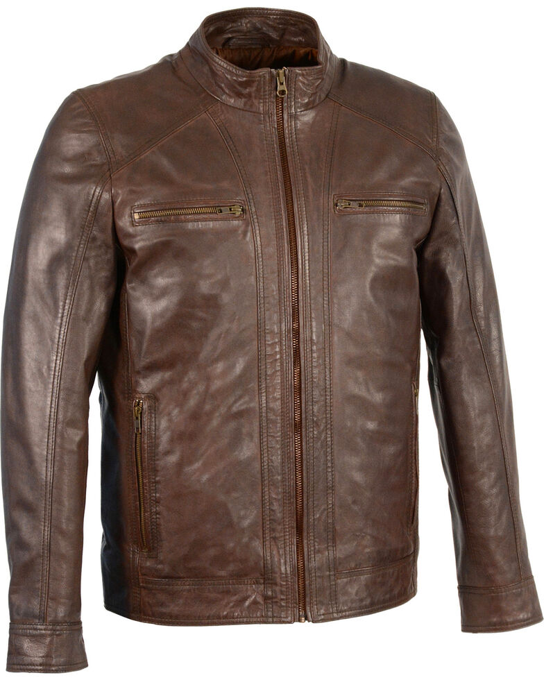 Milwaukee Leather Men's Sheepskin Moto Leather Jacket - 5X, Brown, hi-res