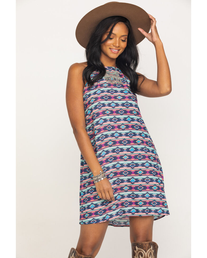 Five Star Women's Blue Aztec Print Tank Dress , Blue, hi-res