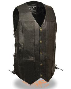 Milwaukee Leather Men's 10 Pocket Side Lace Vest - Tall, Black, hi-res