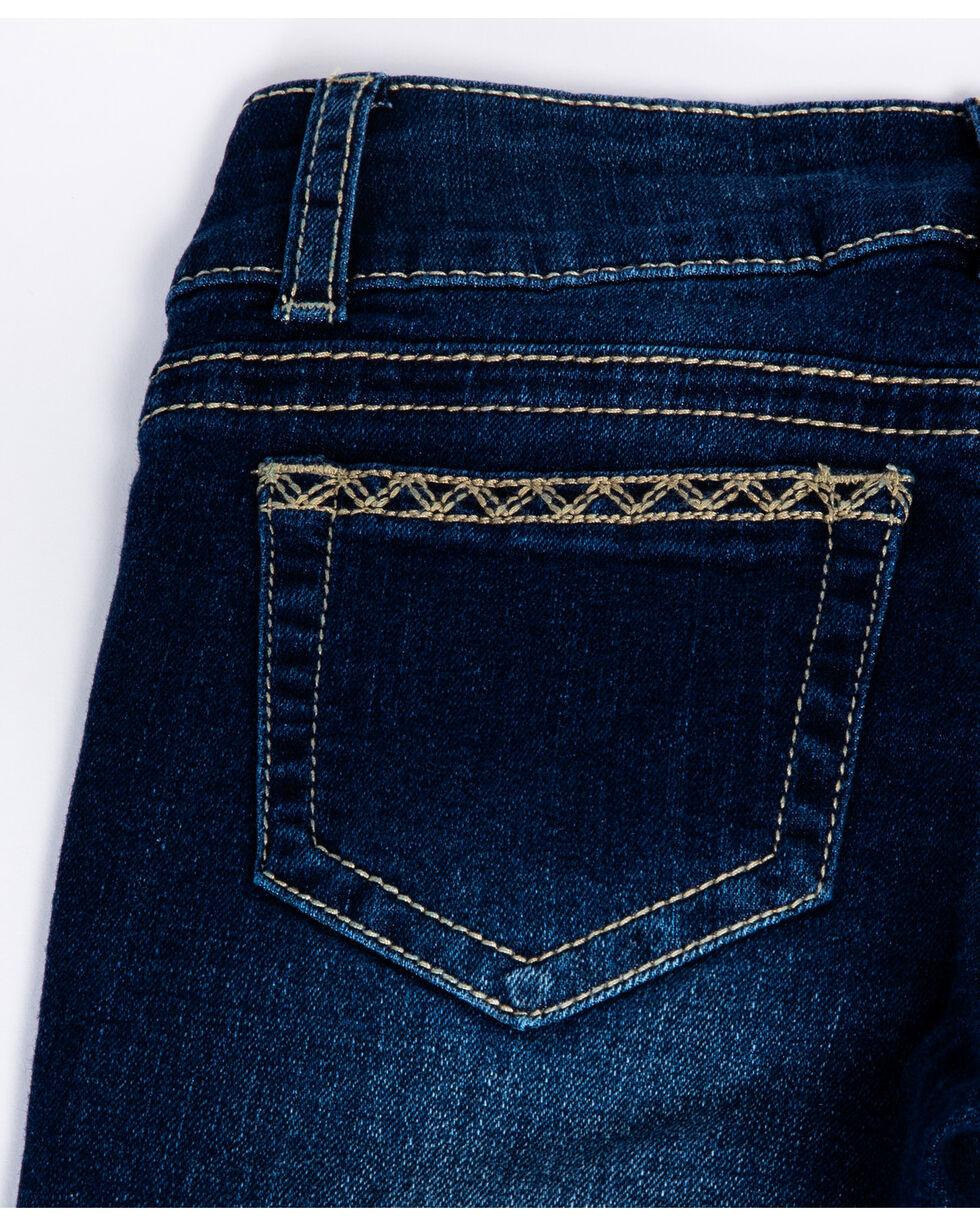 Seven7 Girls' Samson Embroidered Pocket Dark Boot Jeans , Blue, hi-res