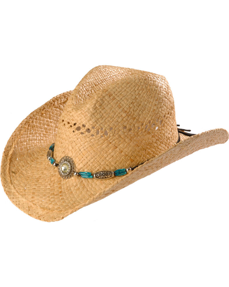 451d85e92 Blazin Roxx Faux Turquoise Stone Bling Raffia Straw Cowgirl Hat