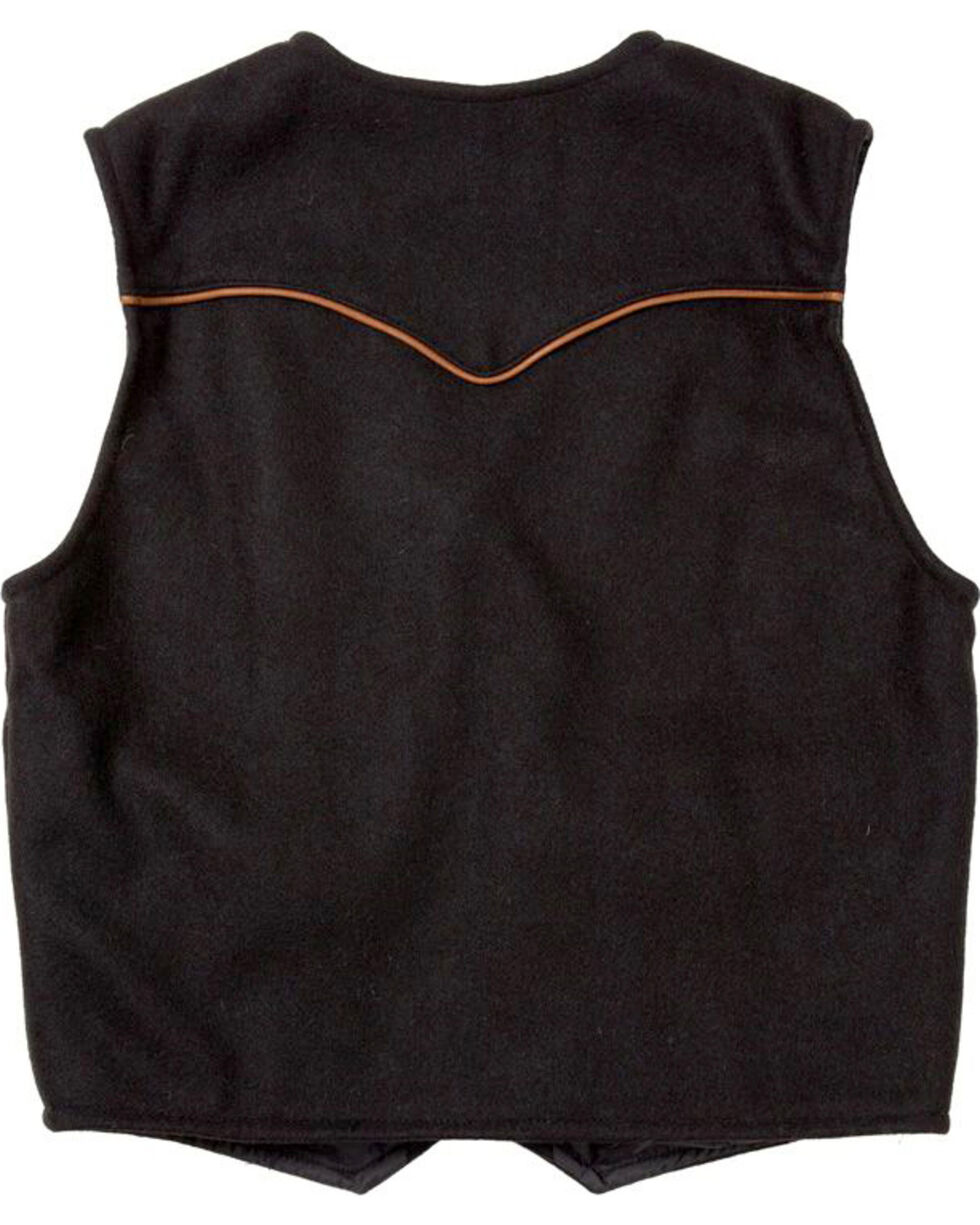 Schaefer Outfitter Men's Black Stockman Melton Wool Vest - XLT, Black, hi-res