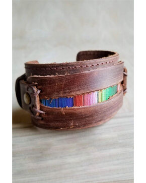 Jewelry Junkie Women's Dusty Serape Print Wide Leather Cuff, Multi, hi-res