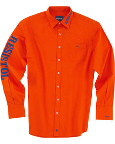 Resistol Men's Logo Long Sleeve Button Down Shirt, Orange, hi-res