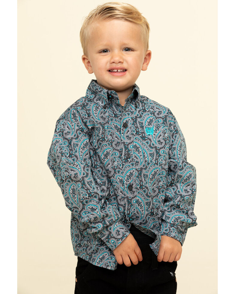Cinch Toddler Boys' Grey Paisley Print Long Sleeve Western Shirt , Grey, hi-res