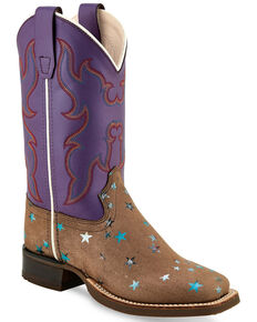 Old West Girls' Star Foot Western Boots - Wide Square Toe, Brown, hi-res