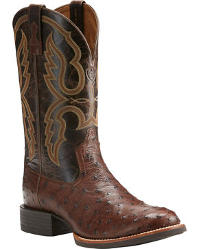 Ariat Men's Quantum Pro Full Quill Ostrich Cowboy Boots - Round Toe, Dark Brown, hi-res