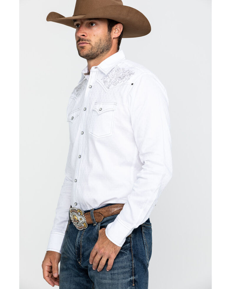 Rock 47 By Wrangler Men's White Solid Embroidered Long Sleeve Western Shirt , , hi-res