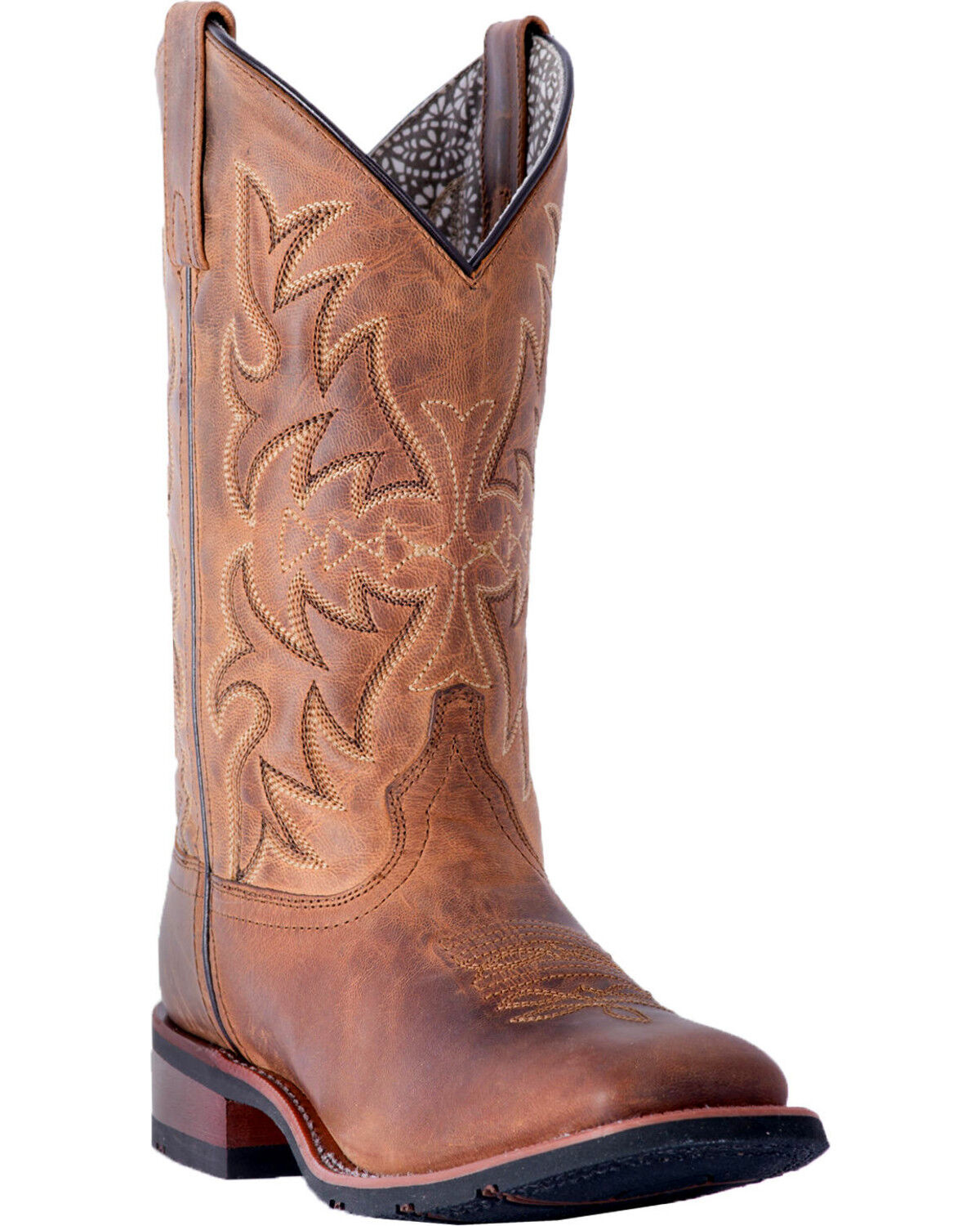 Laredo Womens Anita Brown//Blue Cowgirl Boot Square Toe
