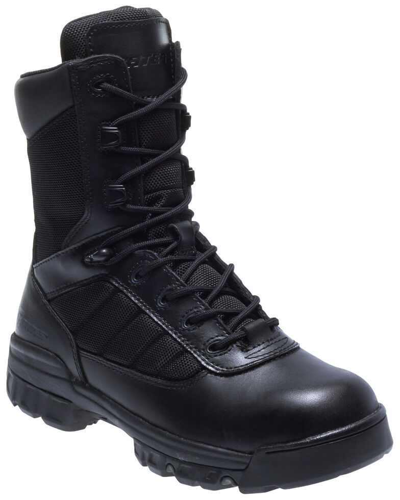 "Bates Women's 8"" Tactical Sport Side Zip Work Boots - Soft Toe, Black, hi-res"