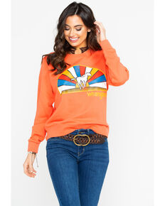 Wrangler Women's Born Ready Running Horse Neon Sweatshirt , Orange, hi-res