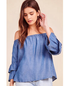BB Dakota Women's Blue Bohemian Rhapsody Ruffle Top , Medium Blue, hi-res