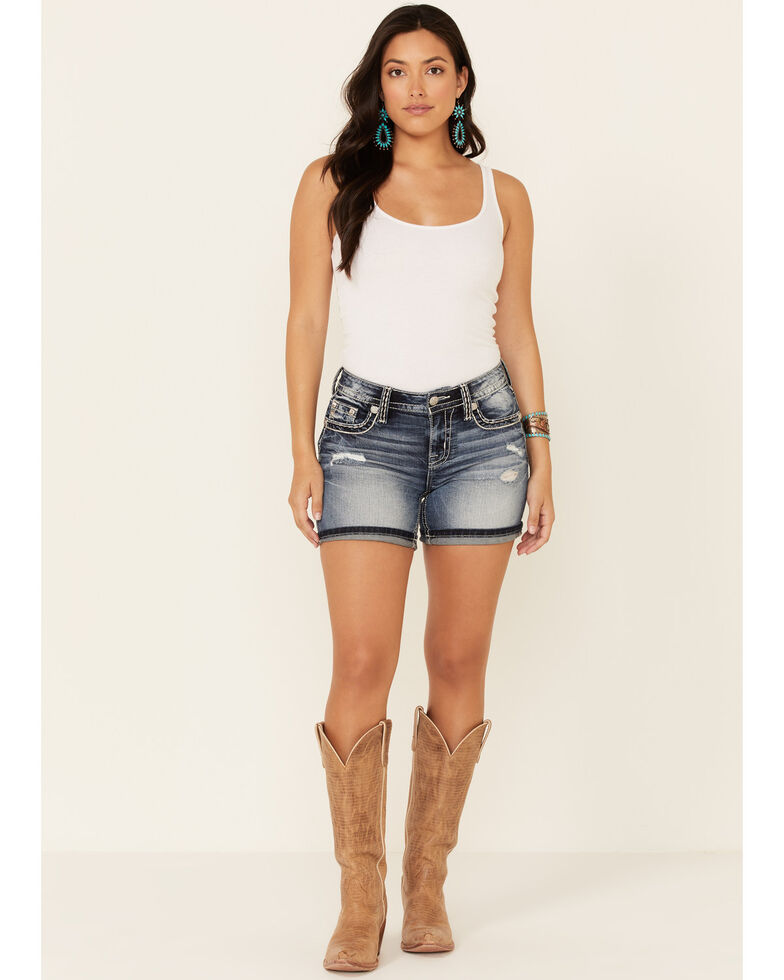 Miss Me Women's Pierced Flap Border Shorts, Blue, hi-res