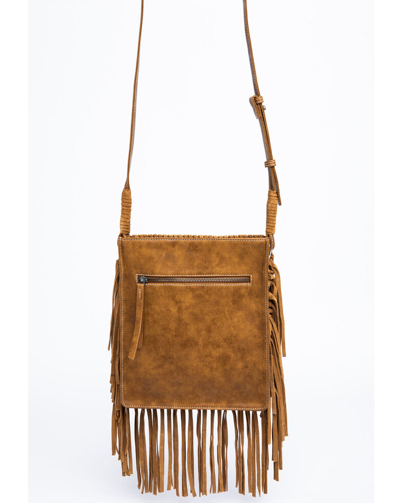 Shyanne Women's Bryndle Fringe Aztec Panel Crossbody Bag , Tan, hi-res