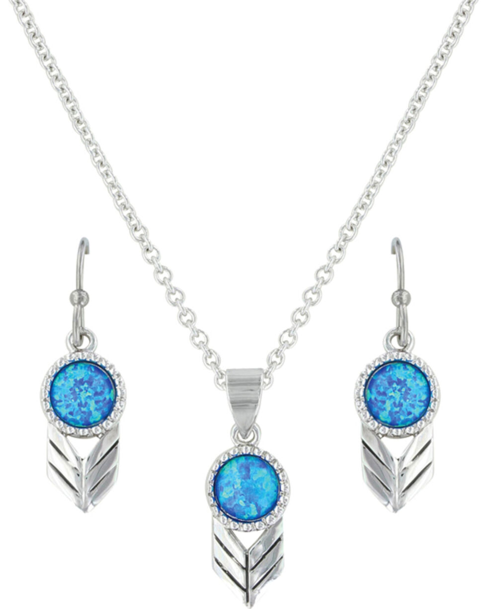 Montana Silversmiths Women's Silver Perfect Sky Flower Jewelry Set , Silver, hi-res