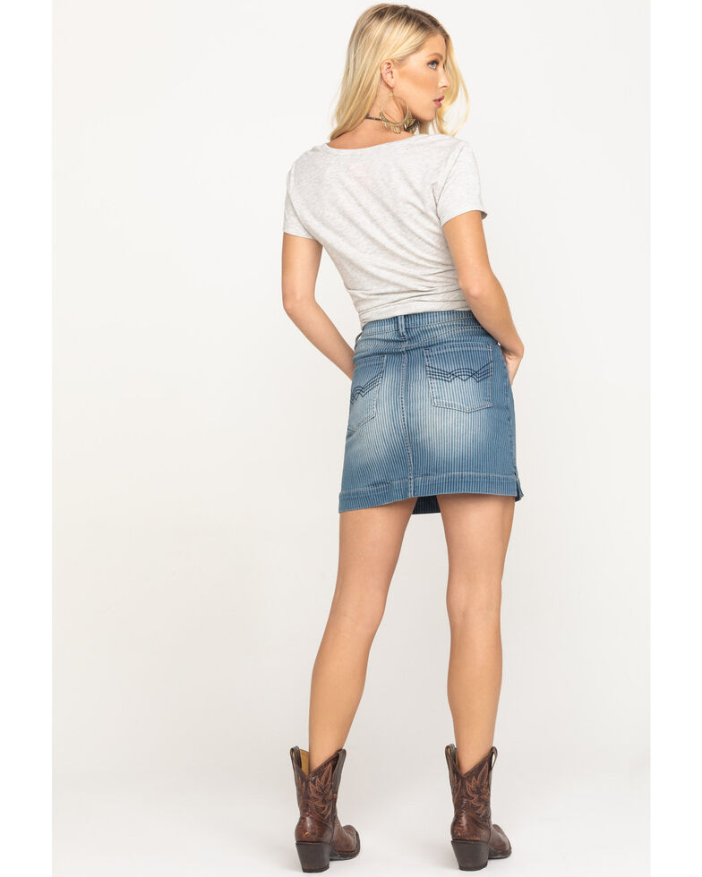 Idyllwind Women's Get in Line Mid-Rise Striped Skirt, Medium Blue, hi-res