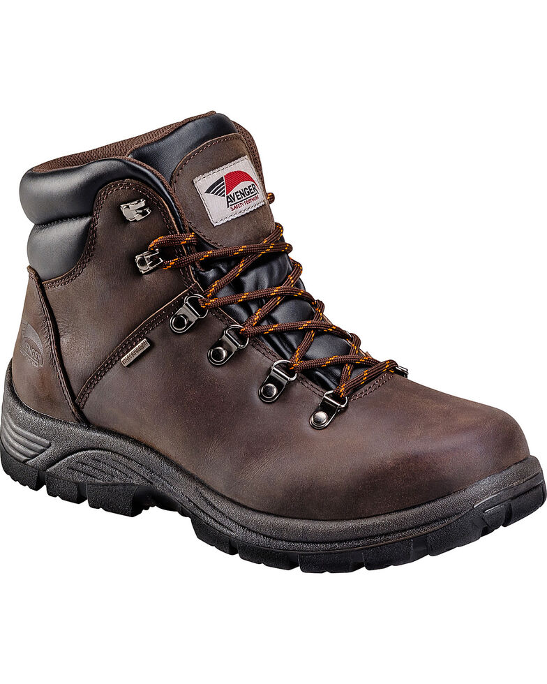 Avenger Men's Waterproof Lace up Work Boots, Brown, hi-res