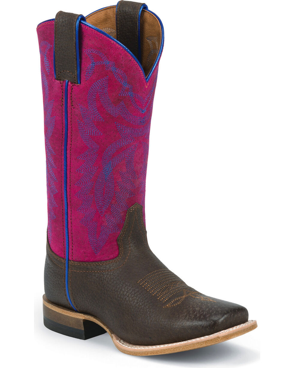 Justin Girls' Purple Cowgirl Boots - Square Toe, Purple, hi-res