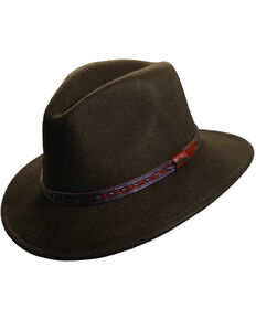 7863f33ea0a Scala Men's Olive Wool Felt with Leather Trim Safari Hat