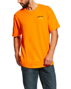 Ariat Men's Orange Rebar Cotton Strong Short Sleeve Logo Crew T-Shirt - Tall , Orange, hi-res