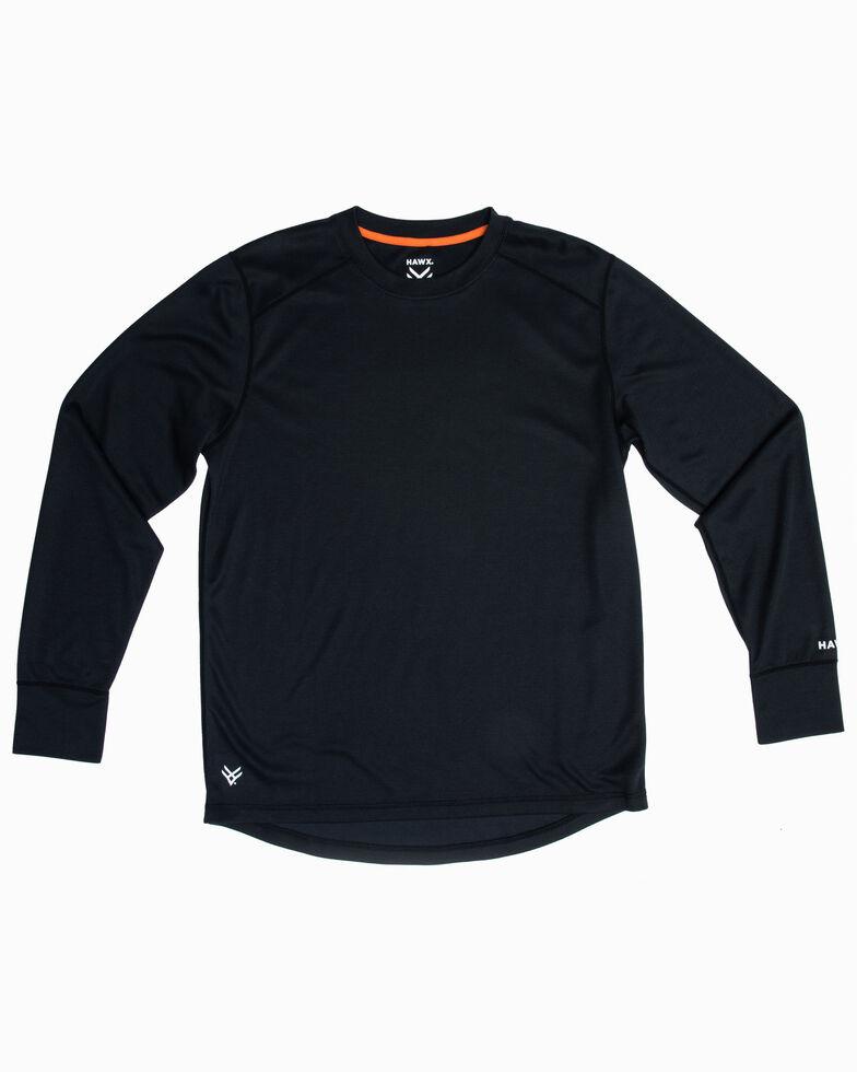 Hawx Men's Black Mid-Weight Base Layer Thermal Long Sleeve Work Shirt - Tall , Black, hi-res
