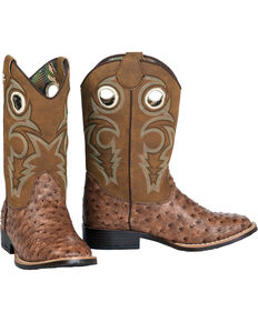 Double Barrel Boys' Brant Ostrich Print Cowboy Boots - Square Toe, Brown, hi-res
