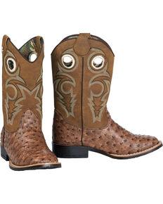 Double Barrel Boys' Brant Ostrich Print Cowboy Boots - Square Toe, Brown, hi-res