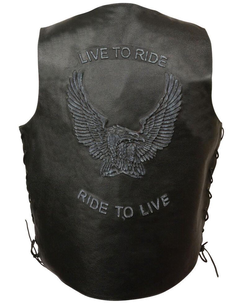 Milwaukee Leather Men's Side Lace Live To Ride Vest , Black, hi-res